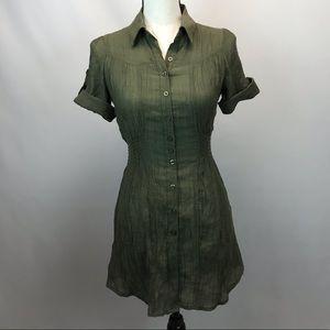Poetry Clothing Long Green Tunic Shirt Dress